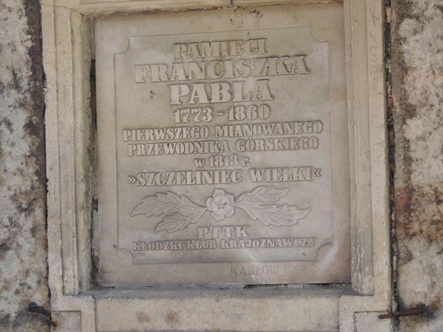 Tablica poświęcona Franciszkowi Pable